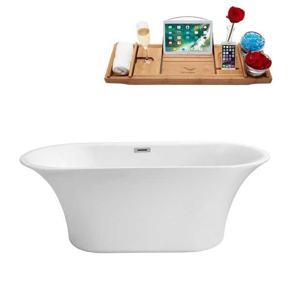 57' Streamline N-841-67FSWH-FM Soaking Freestanding Tub and Tray With Internal Drain