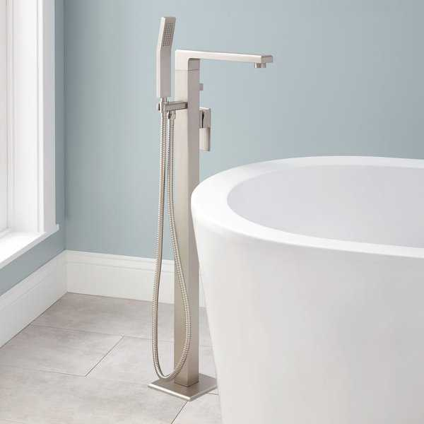 Signature Hardware 934423 Ryle Floor Mounted Tub Filler - Includes Personal Hand Shower - N/A