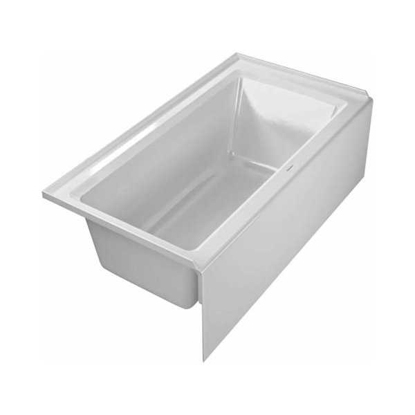 Duravit 700354000000090 Architec 60' Acrylic Soaking Bathtub for Alcove Installations with Front Apron and Left Hand Drain