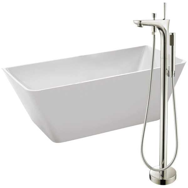 Zenith 67 in. Acrylic Soaking Bathtub in White with Kase Faucet in Brushed Nickel