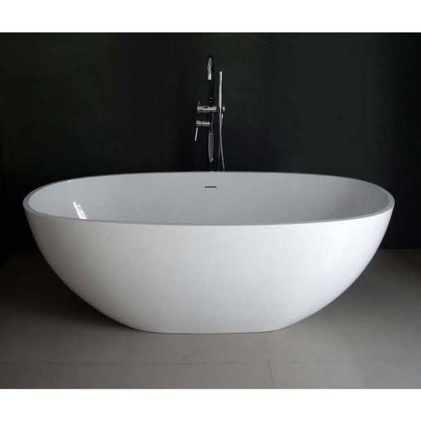 Contemporary 65-inch Solid Surface Freestanding Oval Bathtub