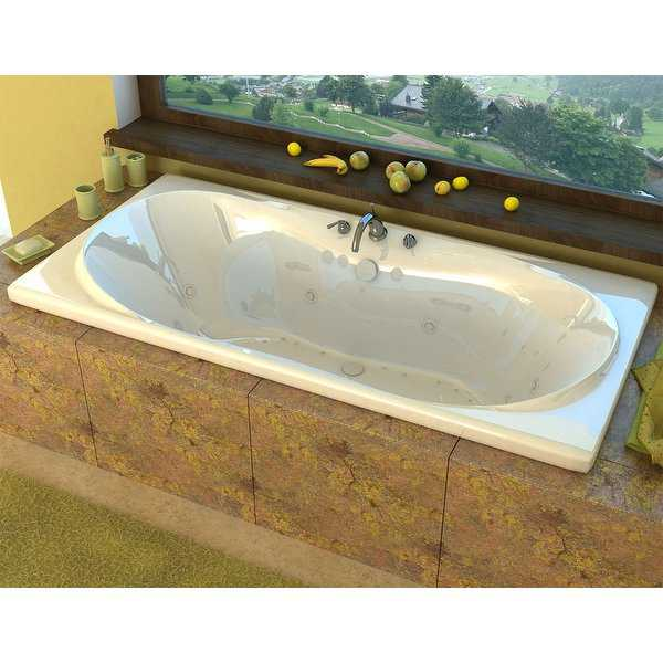 Avano AV3672DRX Luxury Suite 71-1/2' Acrylic Air / Whirlpool Bathtub for Drop-In Installations with Center Drain - White