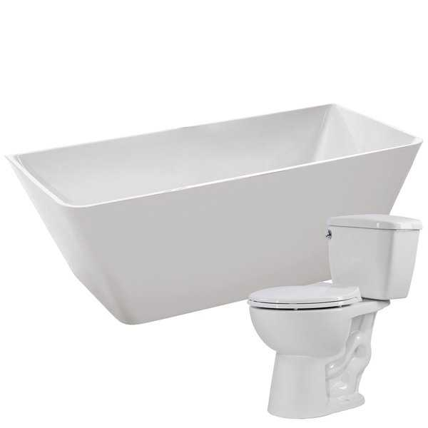 Zenith 67 in. Acrylic Bathtub in White with Author 1.28 GPF Toilet