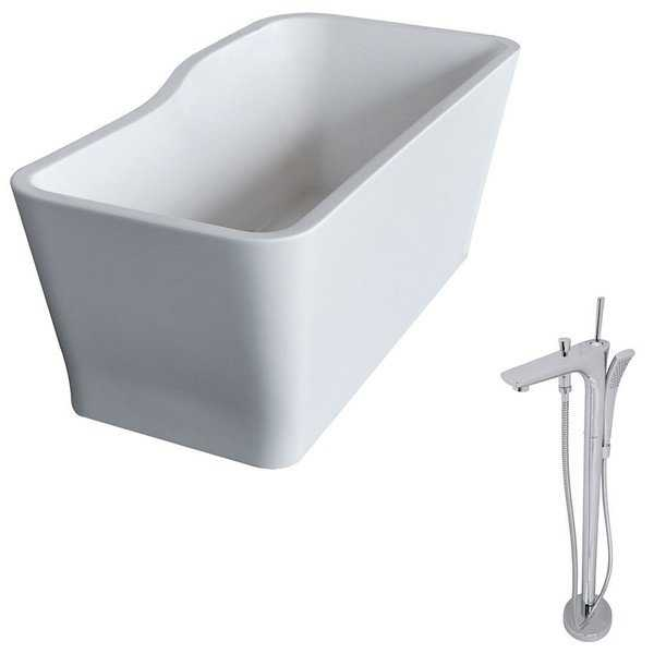 ANZZI Salva 5.7 ft. Acrylic Classic Freestanding Flatbottom Non-Whirlpool Bathtub in White and Kase Faucet in Chrome