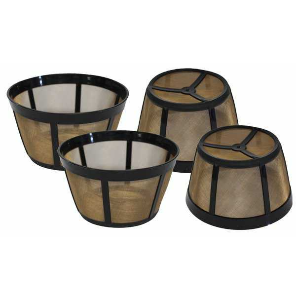 4pk Replacement Gold-Tone Basket Coffee Filters, Fits Bunn Coffee Makers, Washable & Reusable