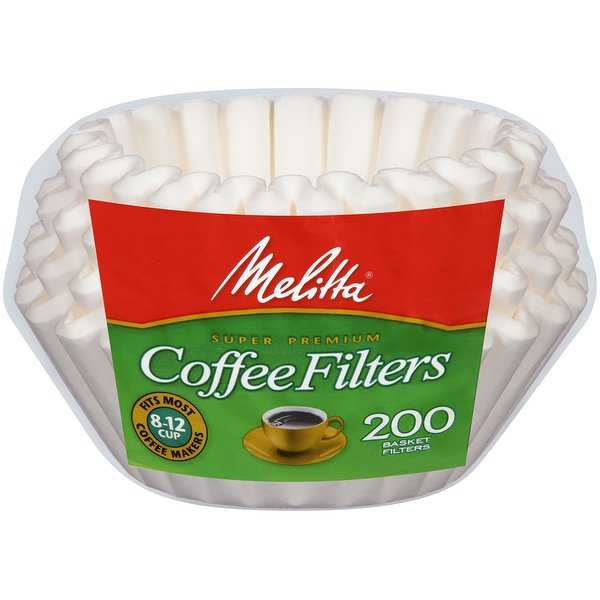 Melitta 8-12 Cup Basket Coffee Filters Paper White, 200 Count, 2 Pack