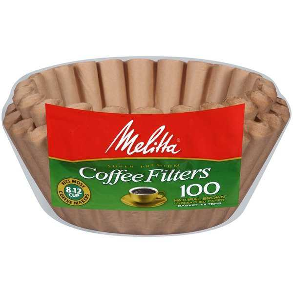 Melitta 8-12 Cup Basket Coffee Filters Paper Natural Brown, 100 Count, 2 Pack