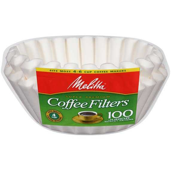 Melitta 4-6 Cup Jr. Basket Paper Coffee Filters White, 100 Count, 2 Pack