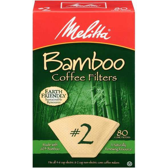 Melitta #2 Cone Bamboo Coffee Filters, 80 Count