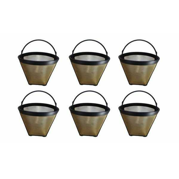 6pk Replacement Gold Tone Coffee Filters, Fits Cuisinart, Washable & Reusable, Compatible with Part GTF4